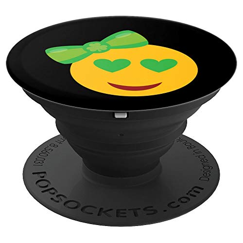 (St Patricks Day Emoji Heart Smiley Face - PopSockets Grip and Stand for Phones and Tablets)
