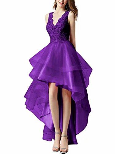 Cher Robe De Soirée En Tulle Ligne Pailleté Robes De Bal Salut Bas De Robes De Fête Officielle Pour Les Juniors Violet
