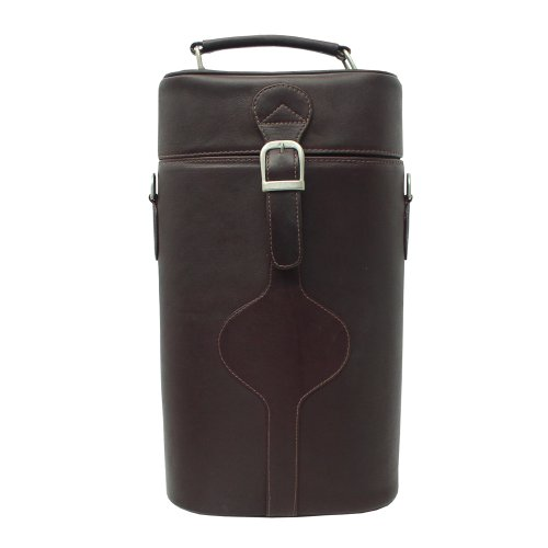 - Piel Leather Double Deluxe Wine Carrier, Chocolate, One Size