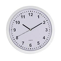 JustNile Modern Minimalist Round Wall Clock - 10 Silver Frame Hidden Safe