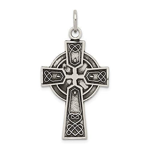 925 Sterling Silver Irish Cross Religious Pendant Charm Necklace Celtic Iona Fine Jewelry Gifts For Women For Her