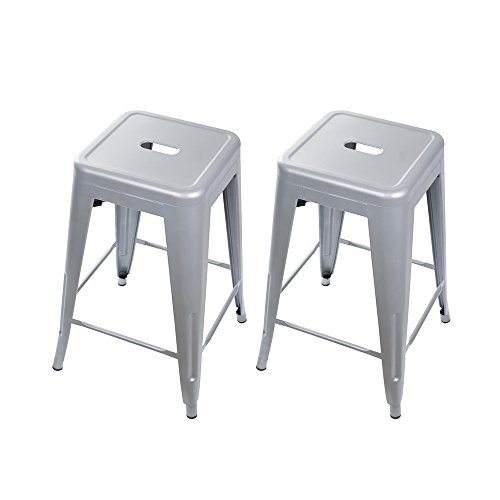 GIA Bar StoolBarstoolbar heightrestaurant 24″ Metal Stools, 2-Pack, Gray, Seat Review