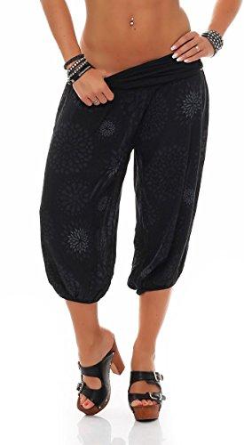 7182 Della Unica Estivo Print Malito Pantaloni Con Sweatpants Nero Taglia Tuta Donna Baggy Breve AzZAqwa