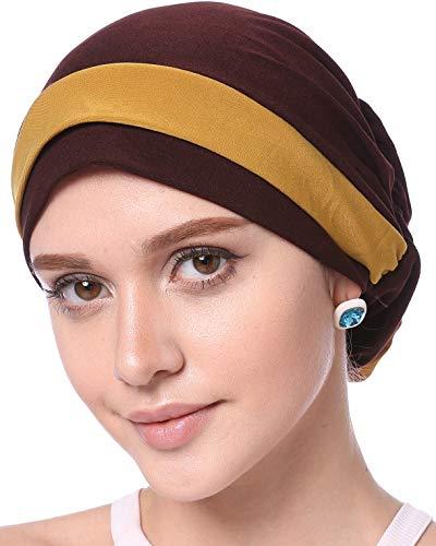 YI HENG MEI Women's Elegant Strench Flower Block Color Muslim Turban Chemo Cancer Cap,Coffee