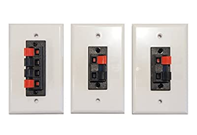Combo Pack Speaker Terminal Wall Plates Spring Clip for Stereo Home Theater
