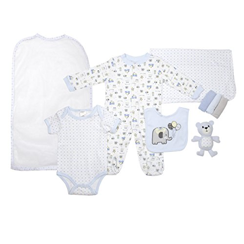 Cutie Pie Baby Boys 9 Piece Layette Gift Set Tulle Bag Blue Dot Elephant 3-6 M - Dot Layette Set