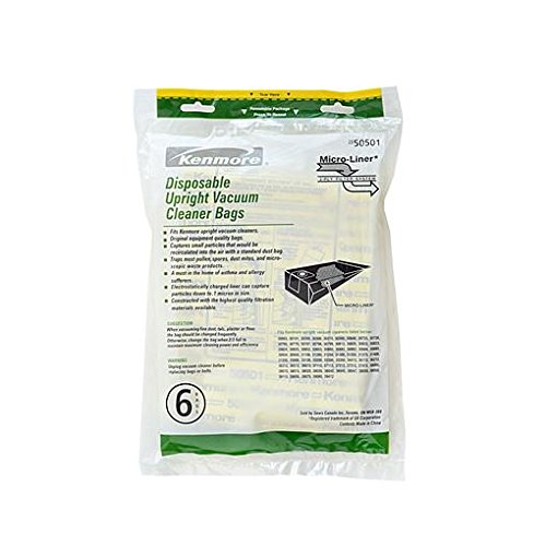 kenmore 04277087. kenmore disposable upright vacuum cleaner bags 50501, (20-50501) 6-count 04277087 e