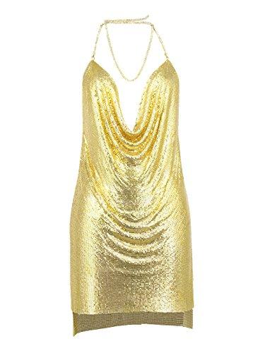 White Day Women's Choker Side Split Gold Metal Dress Medium