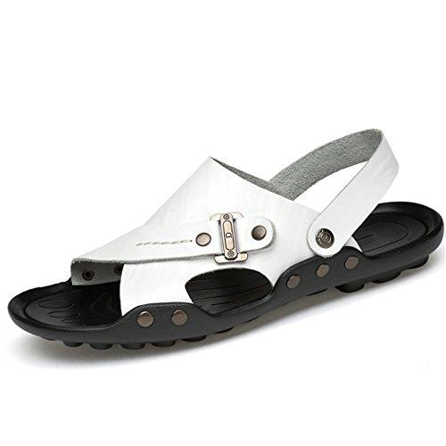 All'aria Da 28 Scarpe Bianca 5 Dimensione da 37 3 5 pantofole Bianca Pelle Casual Colore Scarpe Traspiranti EU 22 Uomo Traspirante Aperta Uomo Da spiaggia Wagsiyi 1 CM In Sandali tYqAHa
