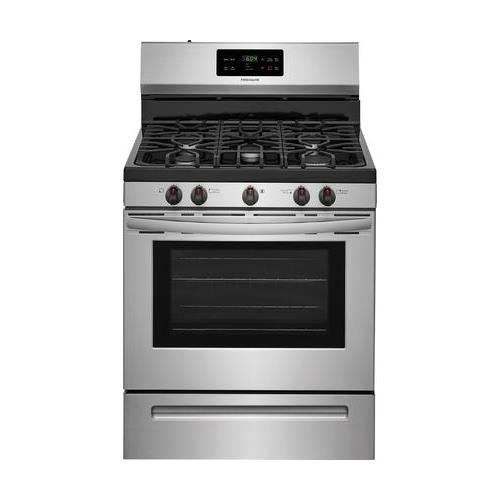 Frigidaire FFGF3054TS 30 Inch Gas Freestanding Range with 5 Sealed Burner Cooktop, 5 cu. ft. Primary Oven Capacity, in Stainless - 30 Gas Professional Range