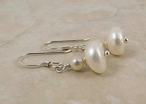 Ivory Colored Button Shaped Cultured Freshwater Pearl Earrings Sterling Silver Ear Wires