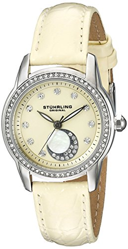 Stuhrling Original Women's 561.03 Countess Stainless Steel Watch With Beige Leather Band