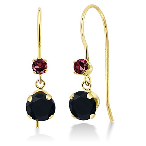 1.10 Ct Round Black Onyx Red Rhodolite Garnet 14K Yellow Gold Earrings (Gold Rhodolite Earrings)