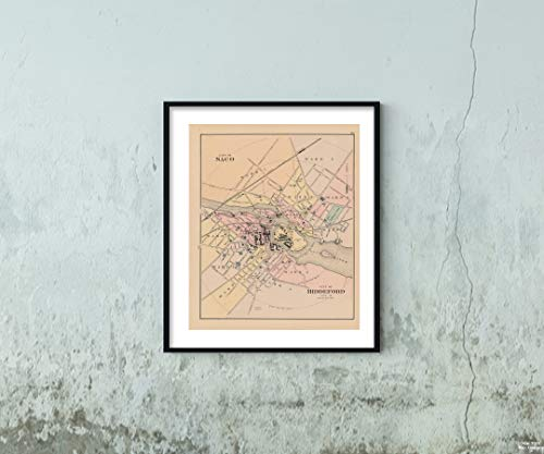 Map|Atlas of Maine, Biddeford & Saco 1885 City|Historic Antique Vintage Reprint|Size: 20x24|Ready to Frame