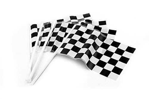 Ifavor123 Checkered Black and White Plastic Race Mini Flags – Racing Themed Bulk Party Favor Novelty - 72 Mini Flags