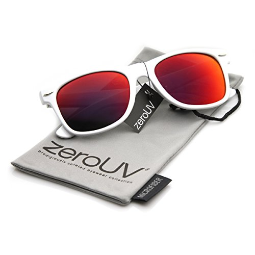 cf428793cc1 zeroUV - Hipster Fashion Flash Color Mirror Lens Horn Rimmed Style  Sunglasses (White Series