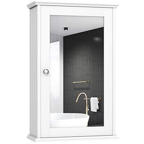 TANGKULA Mirrored Bathroom Cabinet Wall Mount Storage Cabinet Single Doors Medicine Cabinet White