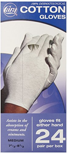 Dermatological Cotton Gloves - CARA Moisturizing Eczema Cotton Gloves, Medium, 24 Pair
