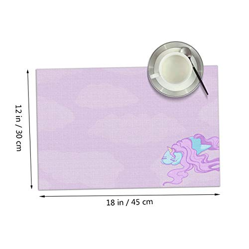 Carmen Belinda Pink Unicorn Placemats Set of 4 for Dining Table Washable Place Mats for Kitchen/Dinning Table, Home Table Decor Non-Slip Heat Resistant, 12x18 Inches ()