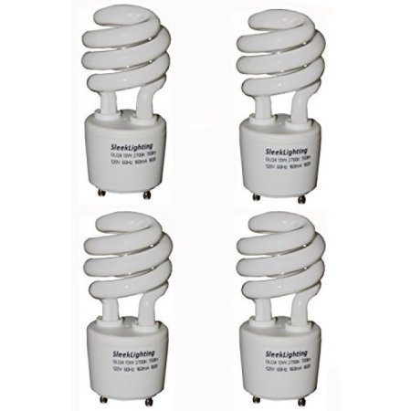 (SleekLighting 13Watt T2 Spiral CFL GU24 Light Bulb Base 2700K 700lm,Compact Fluorescent - 4pack)