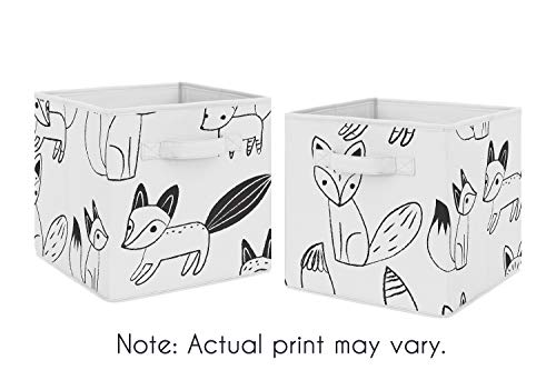 - Sweet Jojo Designs Organizer Storage Bins for Black and White Fox Collection - Set of 2