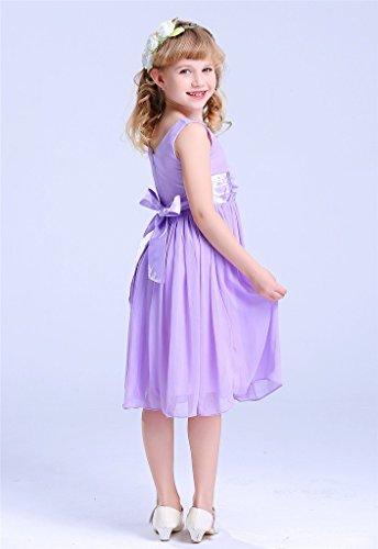 3604e752a7 Bow Dream Junior Bridesmaids V-Neckline Chiffon Flower Girl Dress