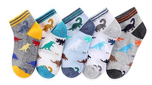 (CHUNG Boys 5 Pack Cotton Low Cut Socks Star Dinosaur Stripe Print 2-9Y,PersonalDino5P,4-6Y )