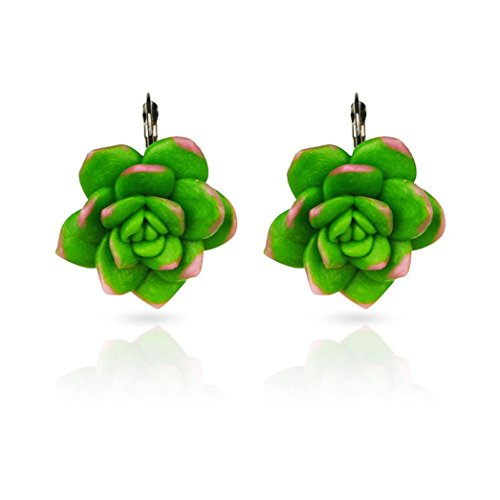 Cactus Filigree - Green Mismatched Colorful Funny Cactus Succulents Plant Flower Earrings Jewelry (Green, Stainless Steel)