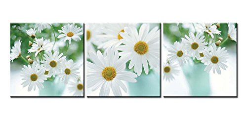 Canvas Print Wall Art Painting For Home Decor Floral Still Life Of White African Daisy Flower In Vase With Green Leaves On White Background Gerbera Daisy 3 Pieces Panel Paintings Modern Giclee Stretched And Framed Artwork The Picture For Living (Daisy Framed)