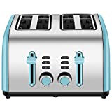 4-Slice Toaster, Chitomax 4 Wide Slots Stainless Steel Toasters with Reheat Defrost Cancel Function, 7-Shade Setting, Blue