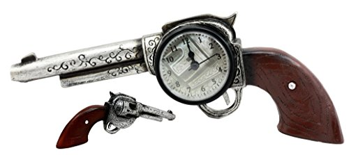 Atlantic Collectibles Cowboy Wild Western Six Shooter Revolver Gun Decorative Table Clock Figurine by Atlantic