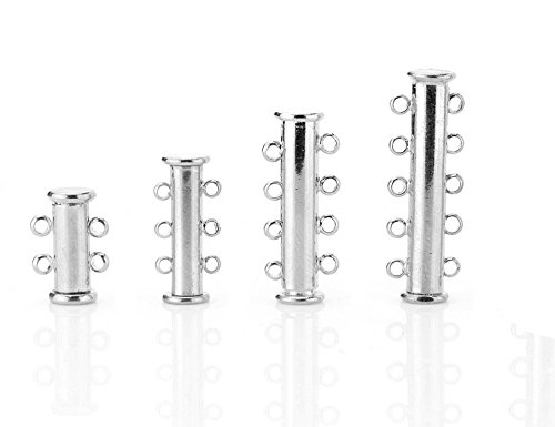 Vast Designs, Sterling Silver Slide Lock Tube Multistrand Clasp, 2 Strands