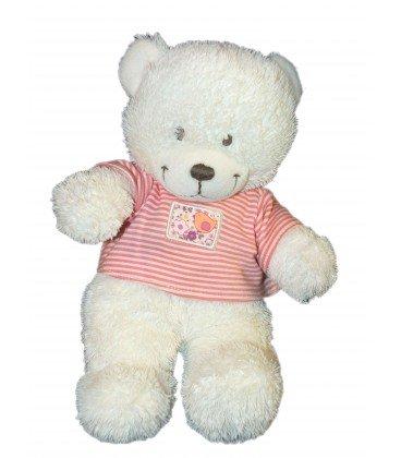 Doudou oso de peluche blanco T Shirt Rojo Rayas pájaro – Tex Baby Carrefour – H