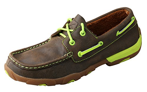 Twisted X Women's Boat Shoe Leather Driving Moccasins, Bomber/Neon Yellow, 10 Medium