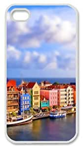 Iphone 4 4s PC Hard Shell Case Colorful Venice Port White Skin by Sallylotus