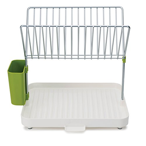 Joseph Joseph 85083 Y-rack Dish Rack and Drainboard Set with Cutlery Organizer Drainer Drying Tray Large for Kitchen, White