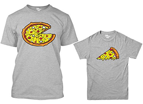 Pizza Pie/Slice Matching Youth & Men's T-Shirt (Gray/Gray, Men's Large/Youth Medium)