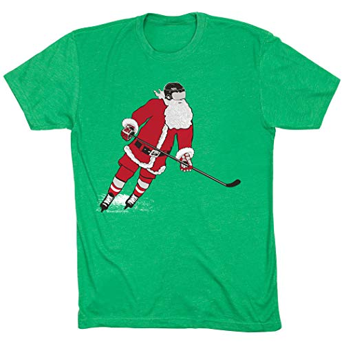 Slap Shot Santa T-Shirt | Hockey Tees by ChalkTalk Sports | Green | Youth Large