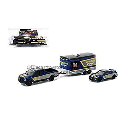 NEW 1:64 GREENLIGHT HITCH & TOW RACING COLLECTION - GOODYEAR - 2015 FORD F-150 2014 NISSAN GT-R W/ ENCLOSED CAR HAULER Diecast Model Car By Greenlight: Toys & Games