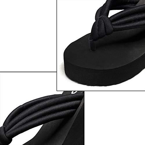 Basso Gtagain Spiaggia Pantofole In Cunei Sandali Ragazza Scarpe Donna 1 All'aperto Moda Da Casuale Nero Estate Infradito Studente Spesso 6BxS6wrPq