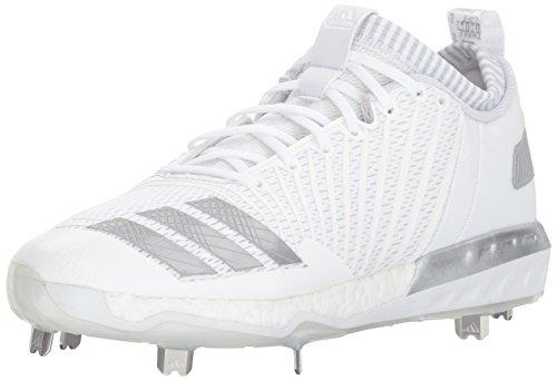 Cleats Adidas Baseball (adidas Men's Freak X Carbon Mid Baseball Shoe, White/Metallic Silver/Light Grey, 12 Medium US)