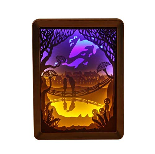 LED Night Light, Champagne Gold Light Paper Carving Lamp, 3D Christmas Stereo Folding Paper Carving for $<!--$40.79-->