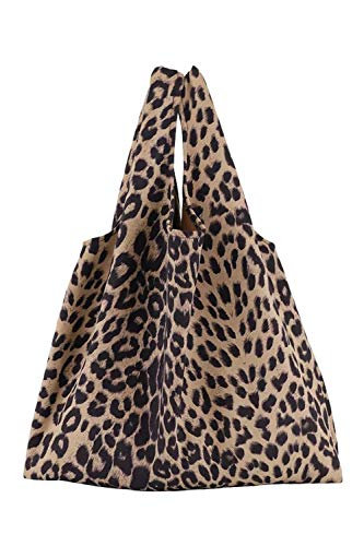 (Lush Leather Leopard Printed Lightweight Ultra Suede Shopper Tote Khaki Bag )