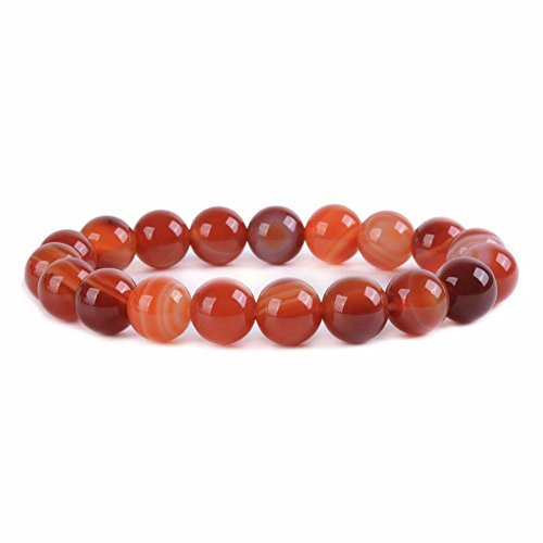 Sardonyx Red Agate Gemstone 10mm Round Beads Stretch Bracelet 6.5