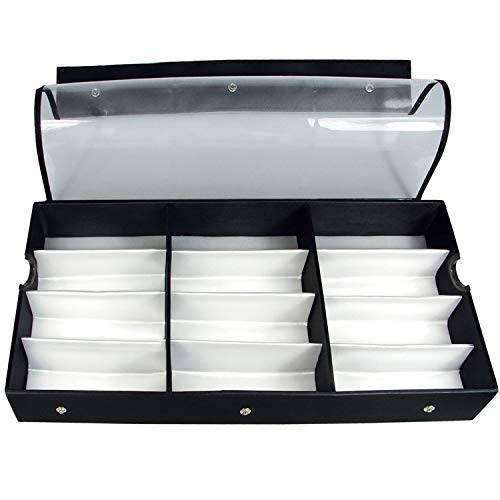 (Ikee Design Large 12 Compartment Vinyl Clear Top Eyewear Case for Eyeglasses, Sunglasses, Watches, Jewelry)