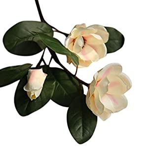 Artificial Leaf Magnolia Flowers, 2 Heads or 1 Head Floral with a Bud and Leaves, BCDshop Wedding Bouquet Party Home Decor 71