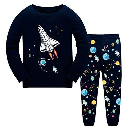 GSVIBK Boys Cotton Pajamas Baby Long Sleeve Pajama Little Boy Short Sleeve Pajamas Kid Dinosaur Sleepwear