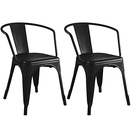 Set of 2 Metal Steel Stools Vintage Antique Style Counter Barstools Black Rustic Chair New #748