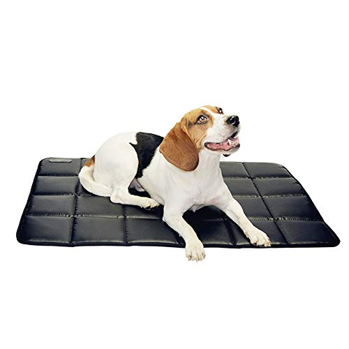 furrybaby Durable Waterproof Dog Crate mat Leather High-Density Outdoor Travel pet Cushion for Puppy&Cats (PVC Material Cotton Inside) (XL 28'x43', Black)