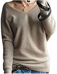 Women's Fashion Big V-Neck Pullover Loose Sexy Batwing...